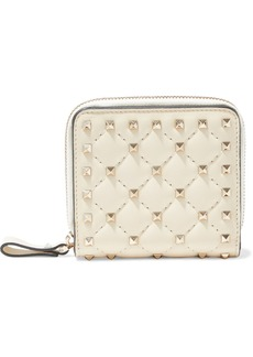 Valentino Garavani Woman Rockstud Spike Quilted Leather Wallet Ivory