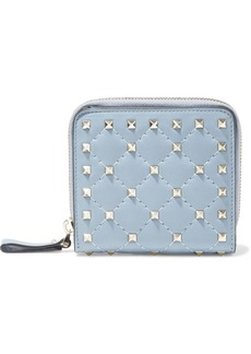 Valentino Garavani Woman Rockstud Spike Quilted Leather Wallet Light Blue
