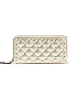 Valentino Garavani Woman Rockstud Spike Quilted Metallic Leather Continental Wallet Platinum