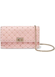 Valentino Garavani Woman Rockstud Spike Quilted Velvet Shoulder Bag Baby Pink