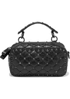 Valentino Garavani Woman Rockstud Spike Small Quilted Cracked-leather Shoulder Bag Black
