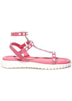 Valentino Garavani Woman Rockstud Suede Platform Sandals Pink
