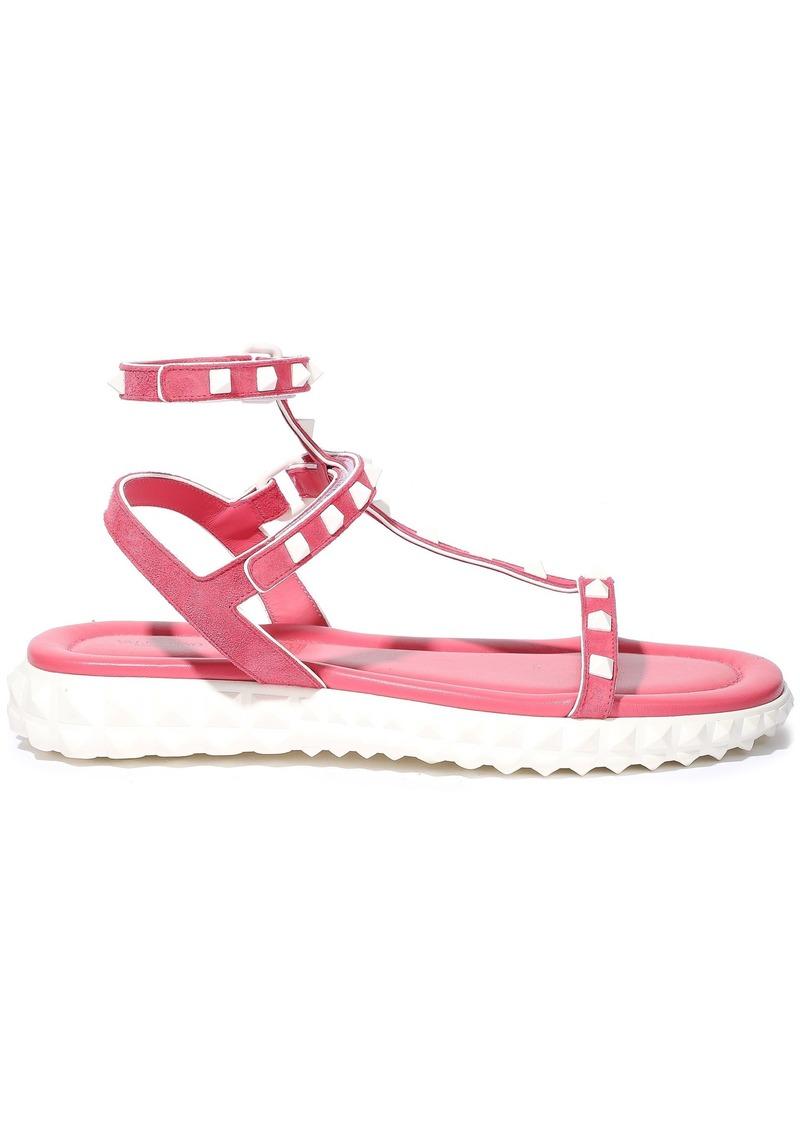 Valentino Garavani Woman Rockstud Suede And Leather Sandals Pink