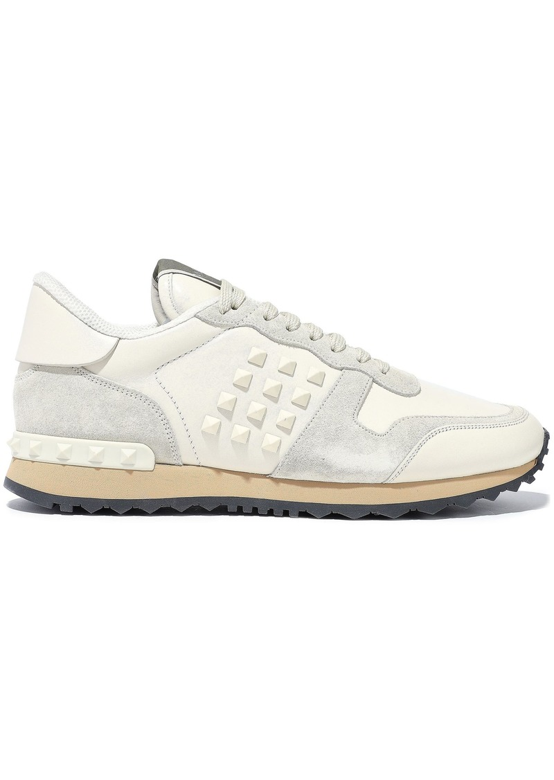 Valentino Garavani Woman Rockstud Suede And Leather Sneakers Ivory