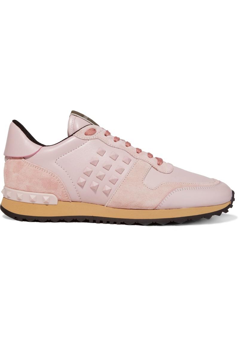 Valentino Garavani Woman Rockstud Suede-trimmed Leather Sneakers Pastel Pink