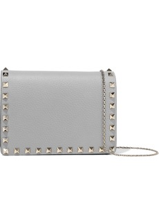 Valentino Garavani Woman Rockstud Textured-leather Shoulder Bag Gray