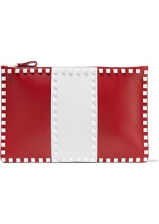 Valentino Garavani Woman Rockstud Two-tone Leather Envelope Clutch Red