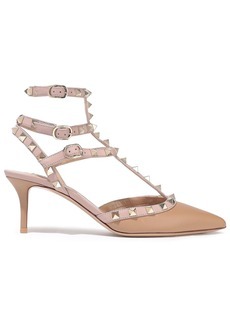 Valentino Garavani Woman Rockstud Two-tone Leather Pumps Neutral