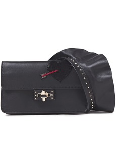 Valentino Garavani Woman Ruffle-trimmed Appliquéd Leather Clutch Black
