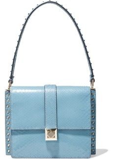 Valentino Garavani Woman Side Studs Small Snake-effect Leather Shoulder Bag Light Blue