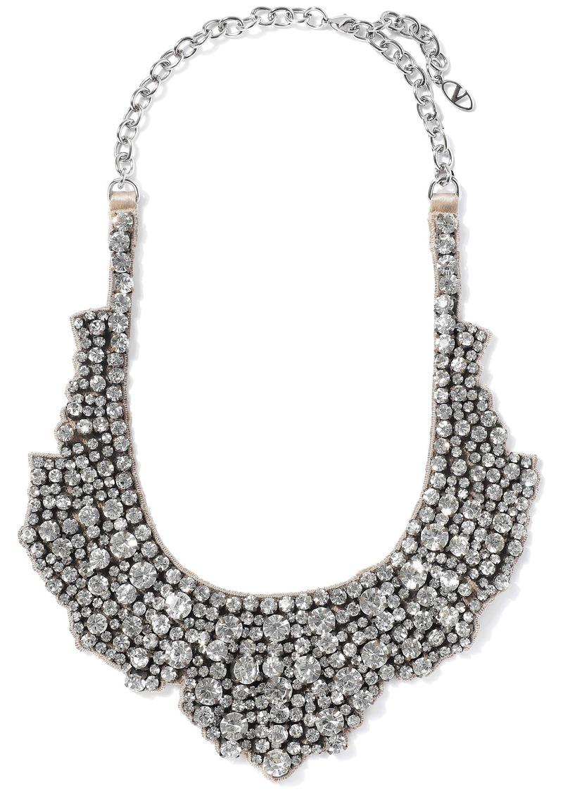 Valentino Garavani Woman Silver-tone Crystal And Satin Necklace Beige