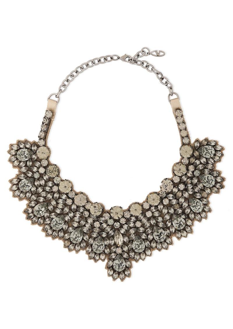 Valentino Garavani Woman Silver-tone Satin And Crystal Necklace Gunmetal