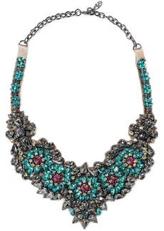 Valentino Garavani Woman Silver-tone Satin And Crystal Necklace Multicolor
