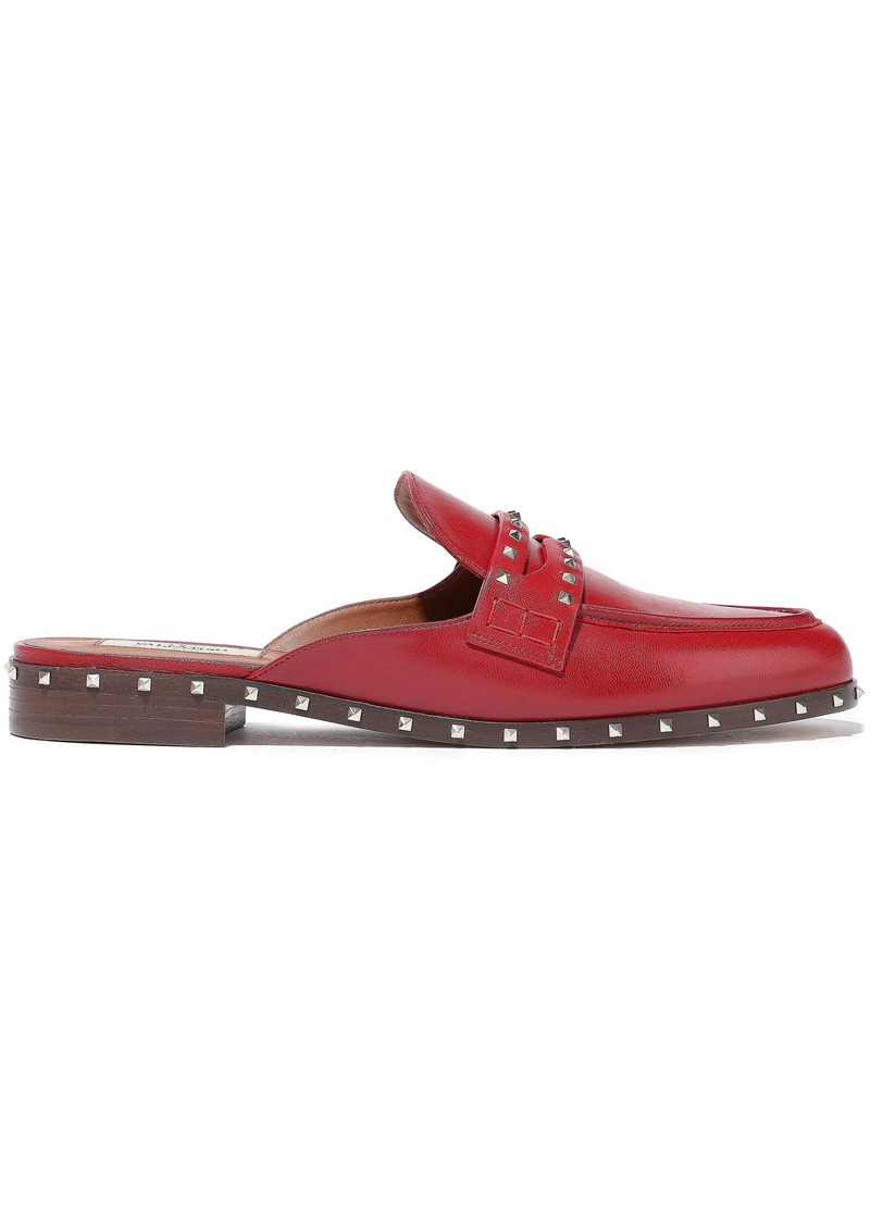 Valentino Garavani Woman Soul Rockstud Leather Slippers Burgundy