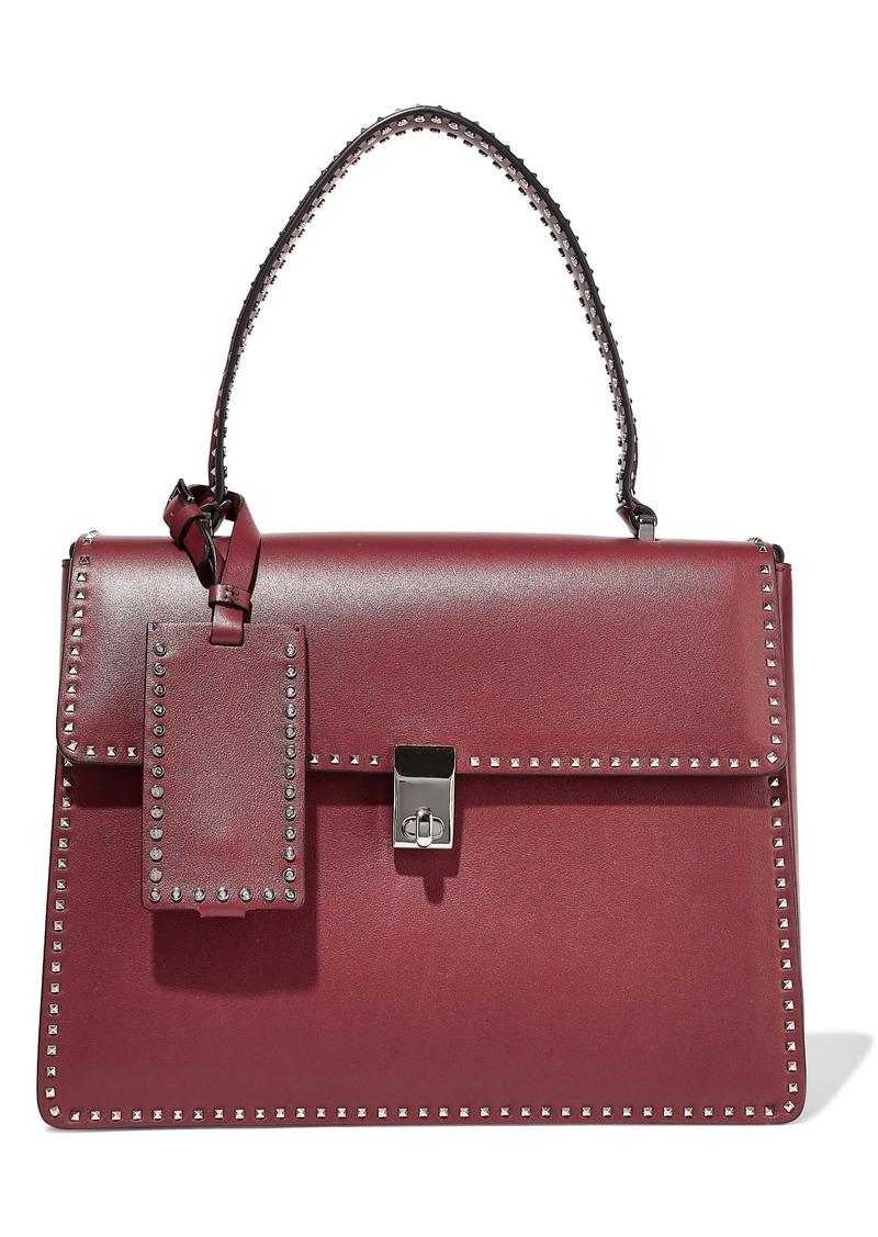Valentino Garavani Woman Stud Stitching Leather Shoulder Bag Grape