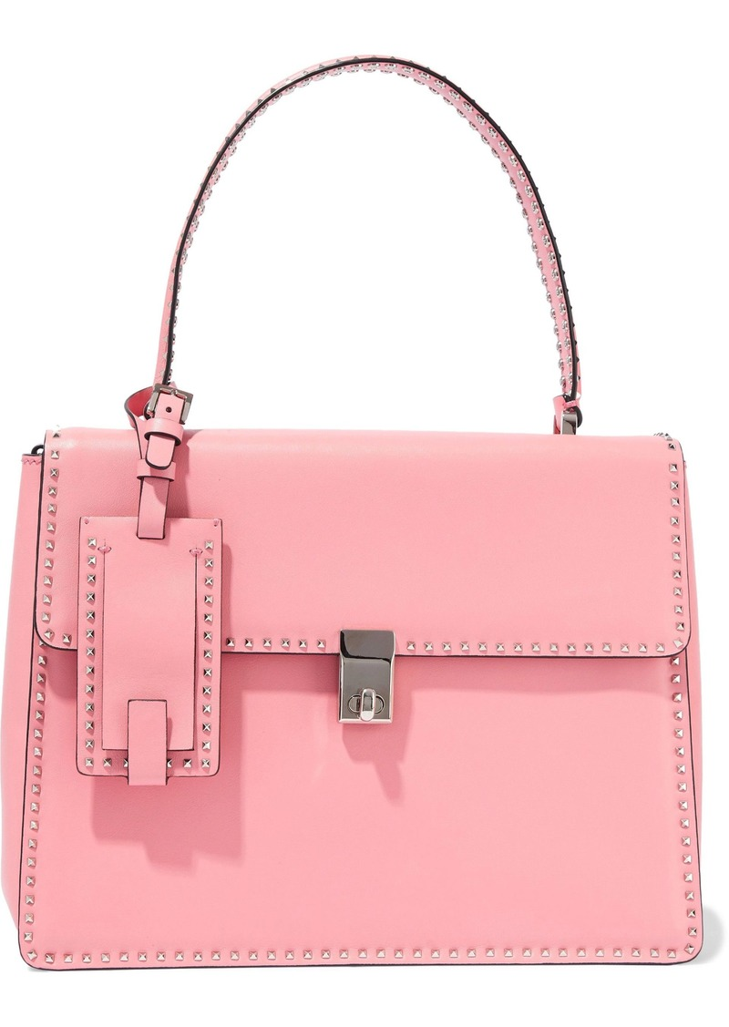 Valentino Garavani Woman Stud Stitching Leather Shoulder Bag Baby Pink