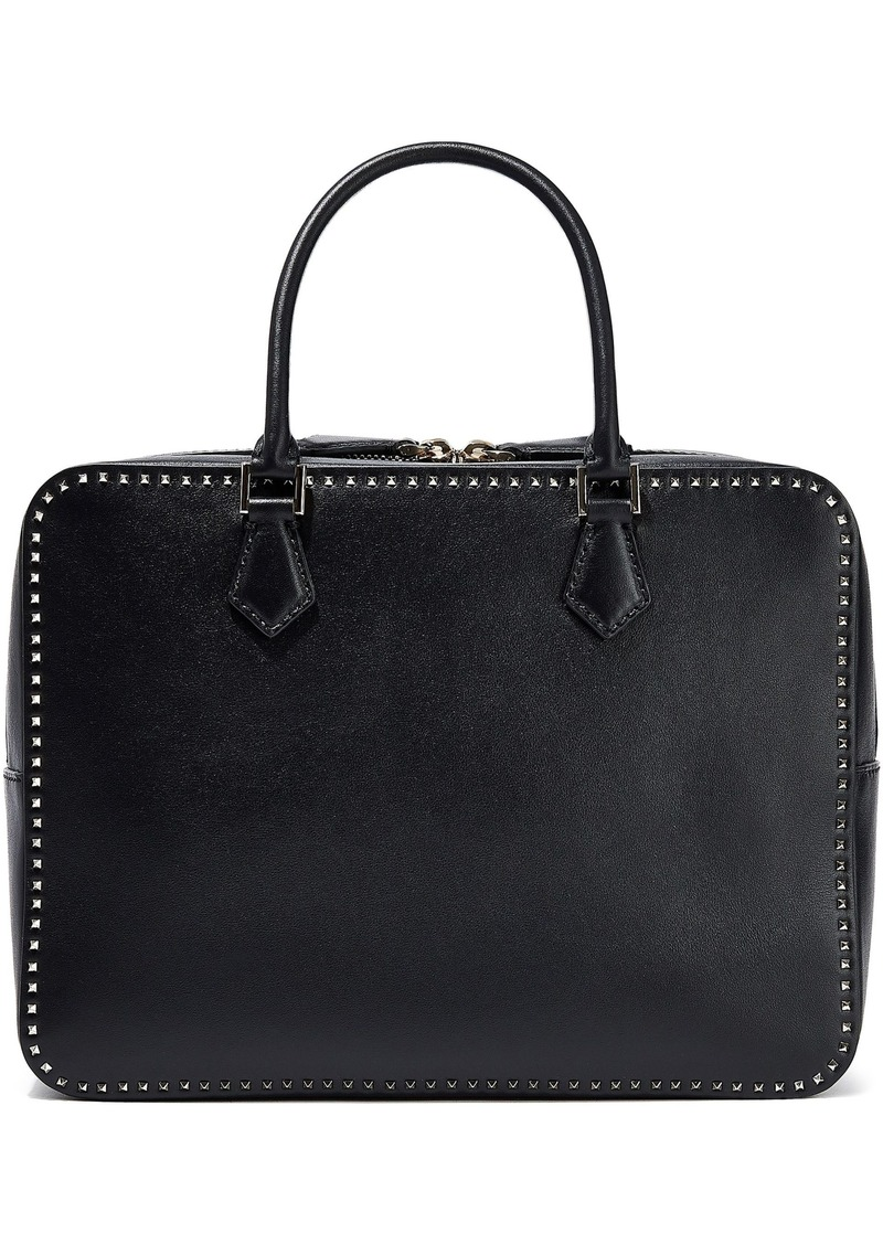 Valentino Garavani Woman Stud Stitching Leather Shoulder Bag Black