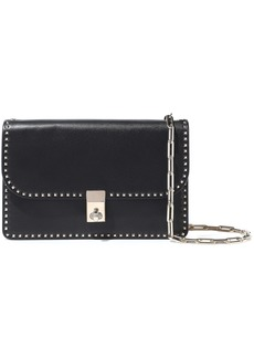 Valentino Garavani Woman Stud Stitching Leather Shoulder Bag Black