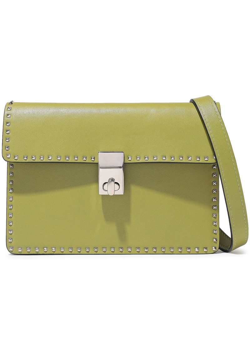Valentino Garavani Woman Stud Stitching Leather Shoulder Bag Lime Green