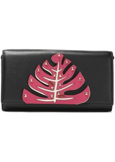 Valentino Garavani Woman Studded Appliquéd Leather Clutch Black