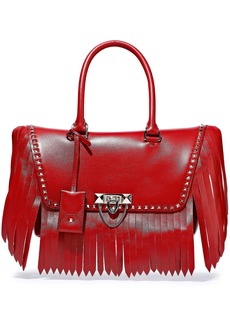 Valentino Garavani Woman Demilune Studded Fringed Leather Tote Red