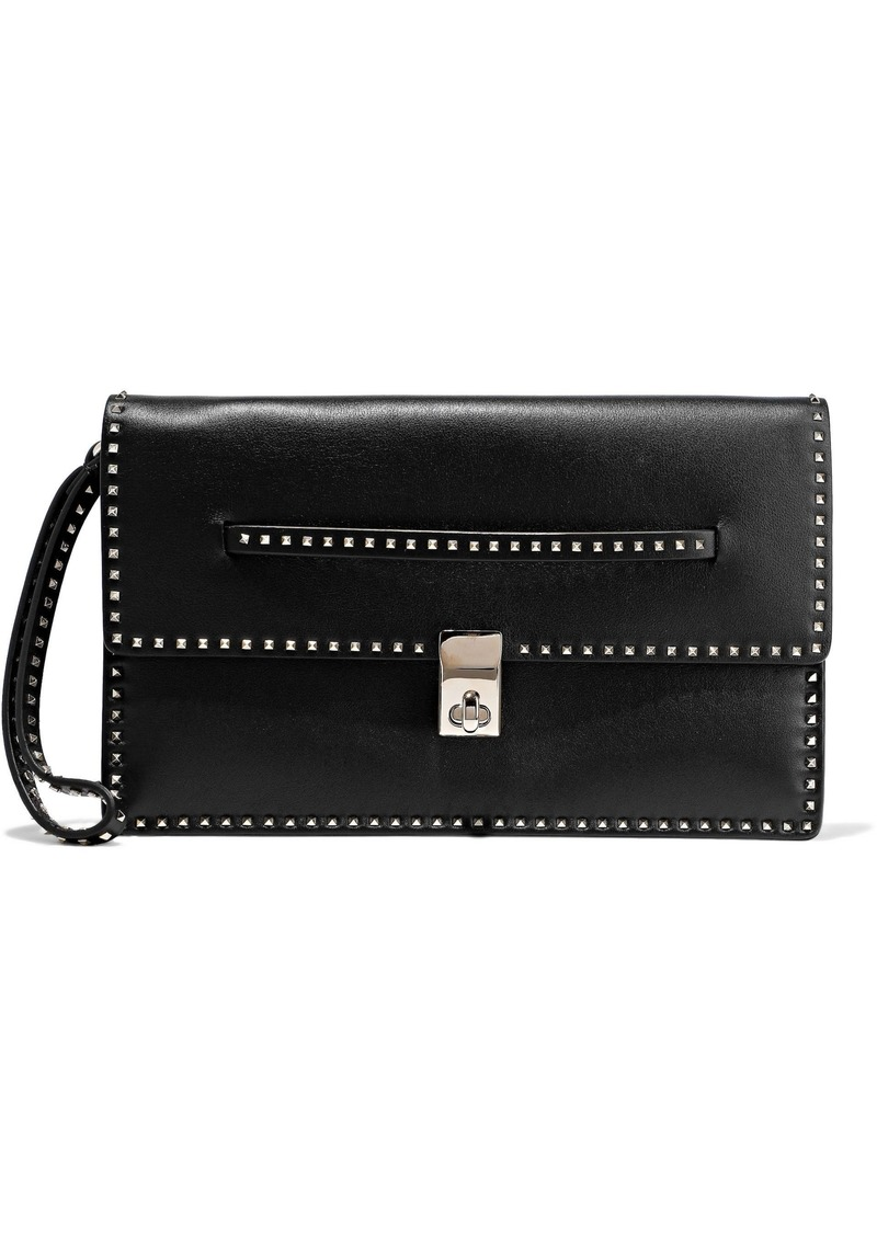 Valentino Garavani Woman Studded Leather Clutch Black