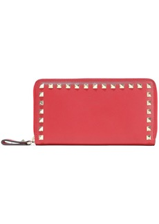 Valentino Garavani Woman Rockstud Leather Continental Wallet Red