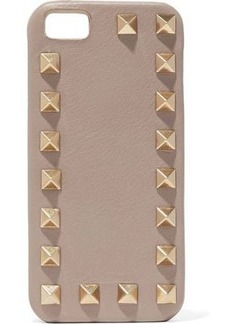 Valentino Garavani Woman Studded Textured-leather Iphone Case Mushroom