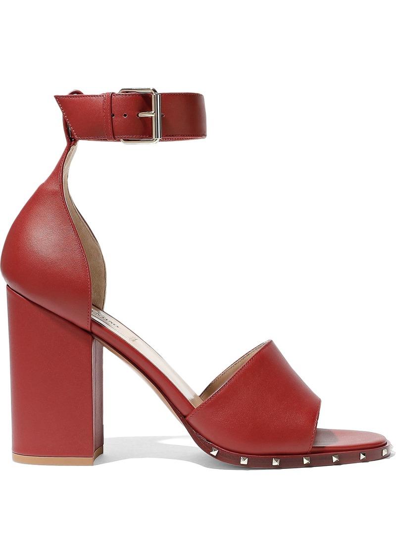 Valentino Garavani Woman Rockstud Leather Sandals Claret
