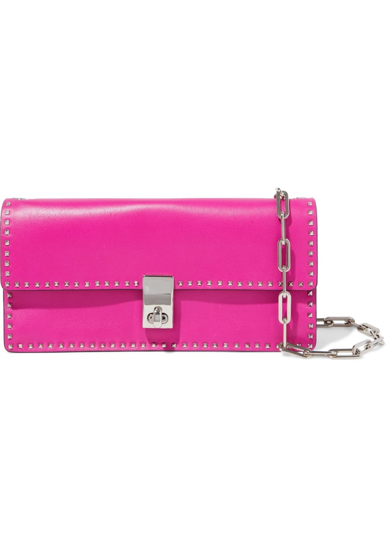 Valentino Garavani Woman Studded Leather Shoulder Bag Fuchsia