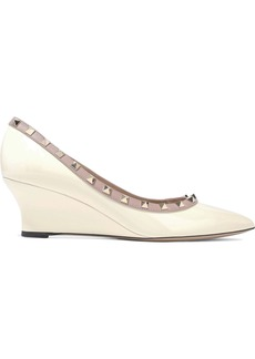 Valentino Garavani Woman Studded Patent-leather Wedge Pumps Ivory