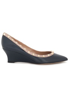 Valentino Garavani Woman Studded Patent-leather Wedge Pumps Navy