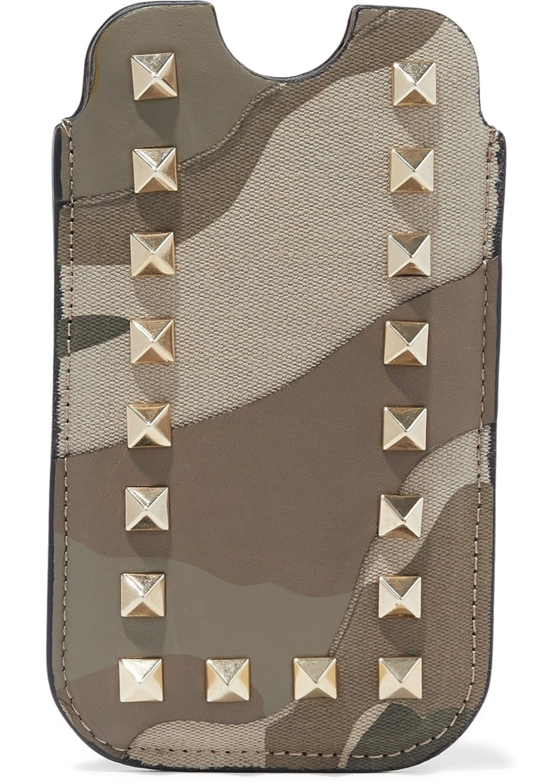 Valentino Garavani Woman Studded Printed Canvas And Leather Iphone Case Taupe