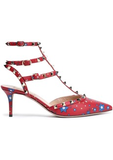 Valentino Garavani Woman Studded Printed Leather Pumps Claret