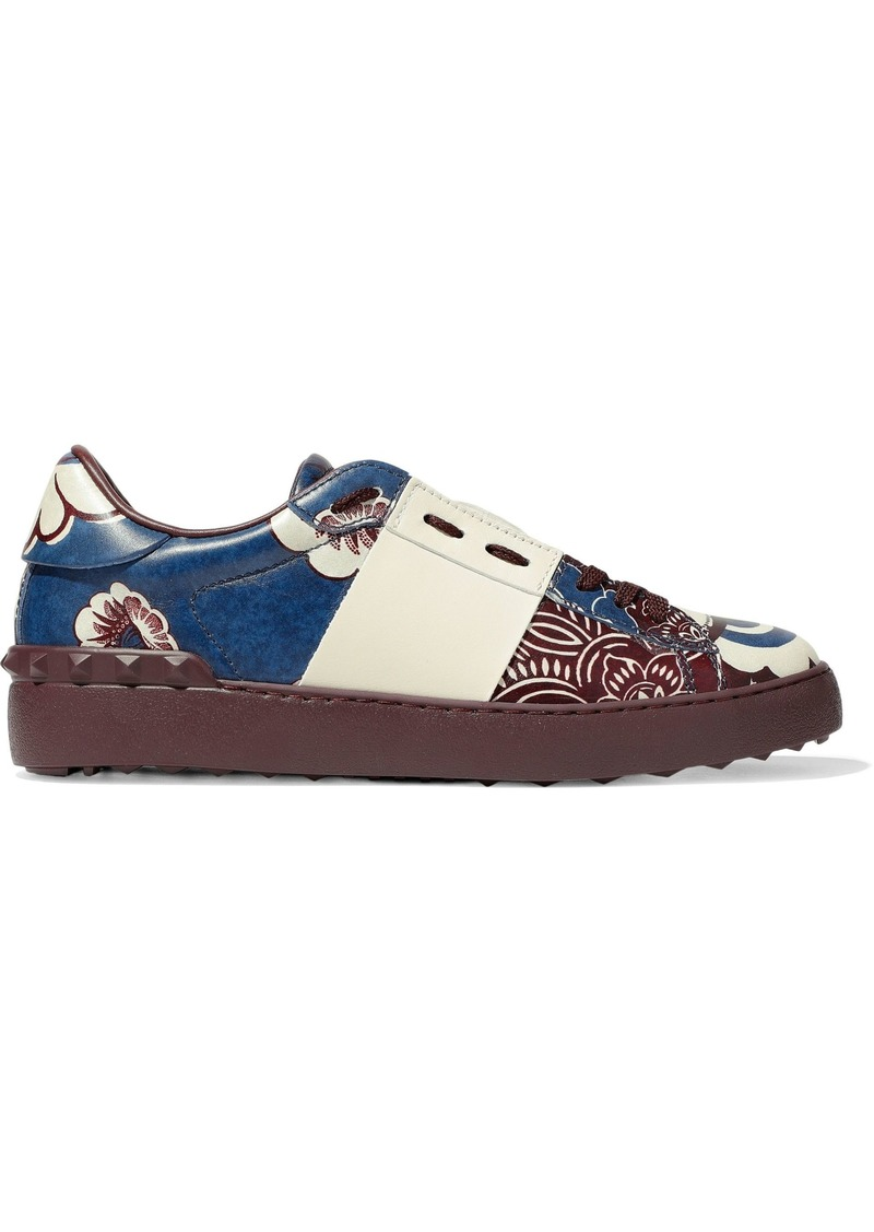 Valentino Garavani Woman Studded Printed Leather Sneakers Grape
