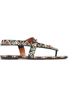 Valentino Garavani Woman Studded Printed Textured-leather Sandals Black