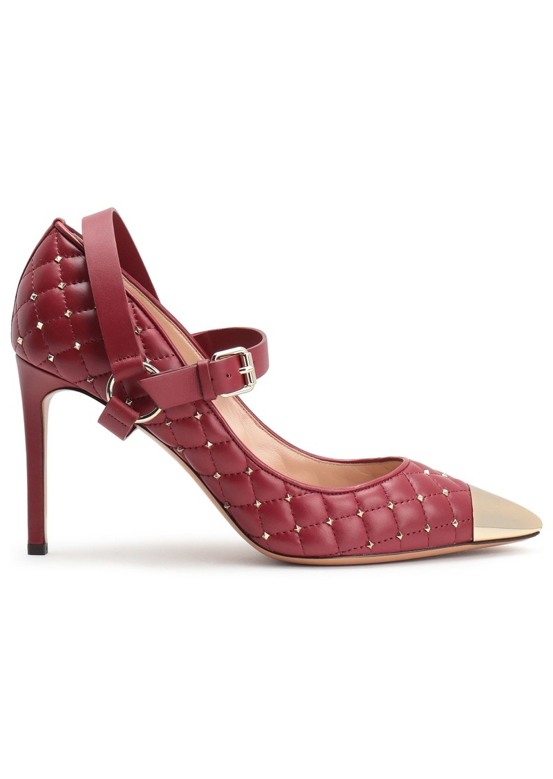 Valentino Garavani Woman Studded Quilted Leather Mary Jane Pumps Merlot