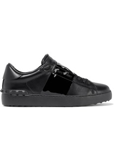 Valentino Garavani Woman Lace-up Patent-trimmed Striped Leather Slip-on Sneakers Black