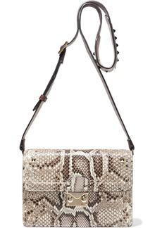 Valentino Garavani Woman Studded Snake-effect Leather Shoulder Bag Animal Print