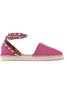 Valentino Garavani Woman Rockstud Double Pebbled-leather Espadrilles Magenta