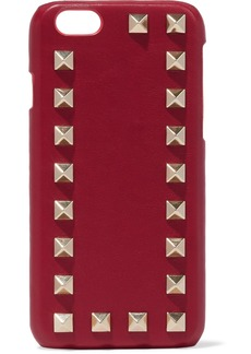 Valentino Garavani Woman Studded Textured-leather Iphone Case Red