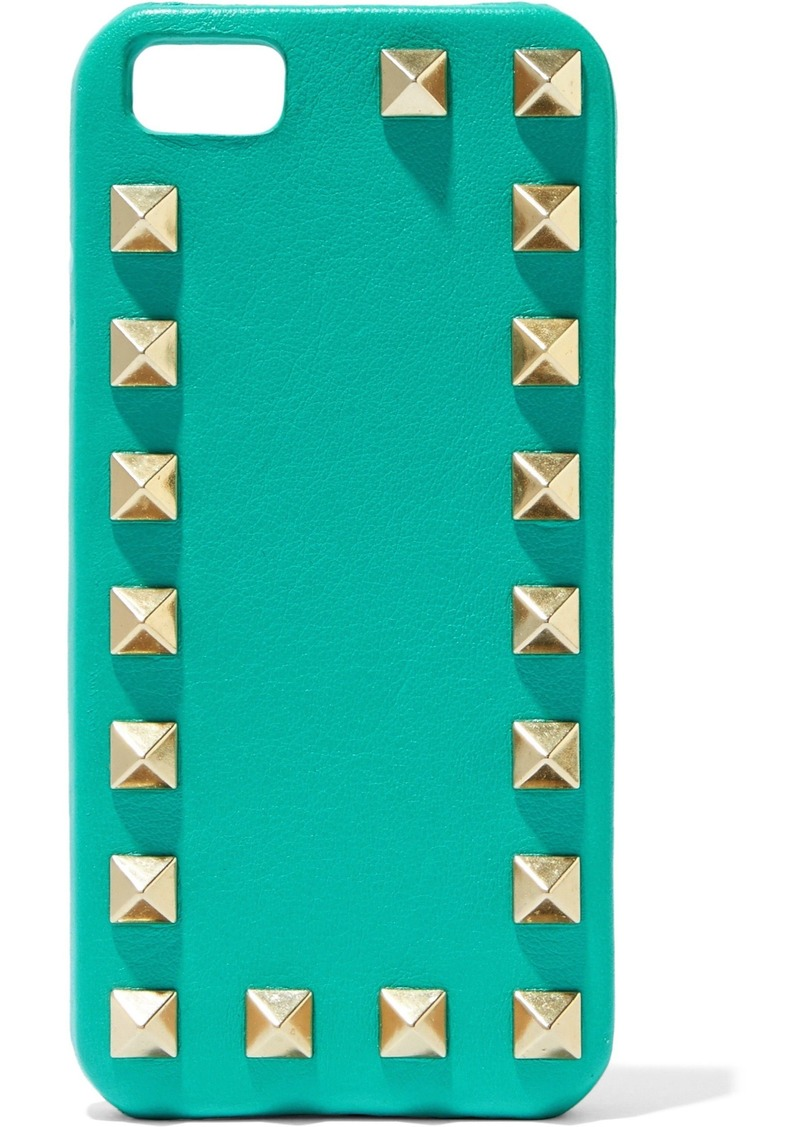 Valentino Garavani Woman Studded Textured-leather Iphone 5 Case Teal