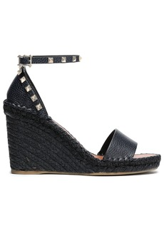 Valentino Garavani Woman Studded Textured-leather Wedge Espadrille Sandals Midnight Blue