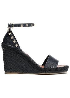 Valentino Garavani Woman Studded Textured-leather Wedge Espadrille Sandals Midnight Blue