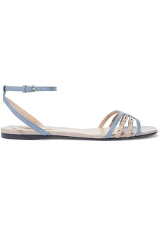 Valentino Garavani Woman Studded Leather Sandals Light Blue