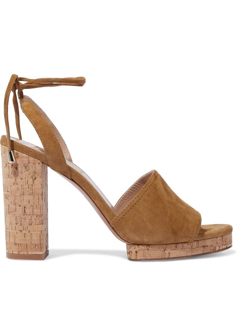 Valentino Garavani Woman Suede Platform Sandals Camel