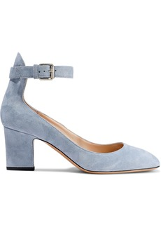 Valentino Garavani Woman Suede Mary Jane Pumps Sky Blue