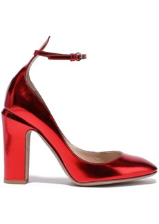 Valentino Garavani Woman Tango Metallic Leather Pumps Red