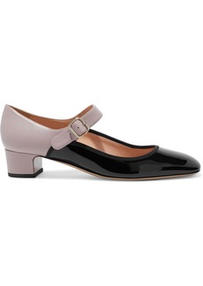 Valentino Garavani Woman Two-tone Textured And Patent-leather Mary Jane Pumps Black