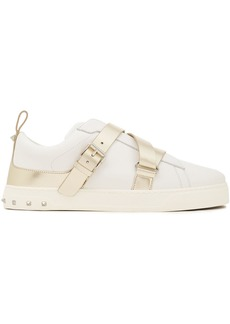 Valentino Garavani Woman V-punk Metallic-trimmed Buckled Leather Sneakers Ivory